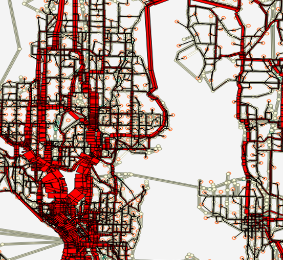 Initial results of brand new bike assignment model. You can see the Burke-Gilman!